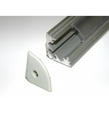 P3 LED profile 0.5m / 500m corner 45 extrusion, anodized aluminium, silver, plus diffuser