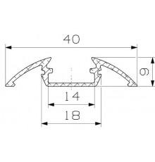 P4 LED profile 2.5m / 2500mm surface extrusion, anodized aluminium, silver, plus diffuser