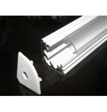 P3 LED profile 2.5m / 2500m corner 45 extrusion, painted aluminium, white, with diffuser