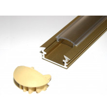 P1 LED profile, 2.5m / 2500mm recessed extrusion, anodized aluminium,gold, with diffuser