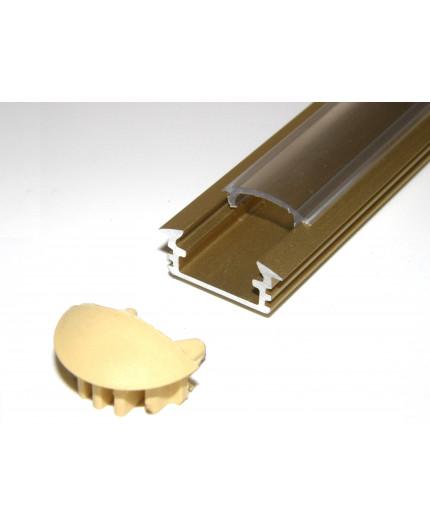 P1 LED profile, 2.5m / 2500mm recessed extrusion, anodized aluminium,gold, with diffuser