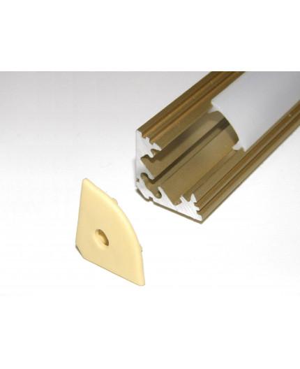 P3 LED profile 2.5m / 2500mm corner 45 extrusion, anodized aluminium, gold, with diffuser