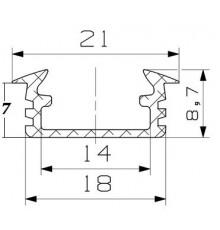 P1 LED profile, 2.5m / 2500mm recessed extrusion, anodized aluminium, inox, plus diffuser
