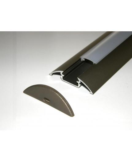 P4 surface LED profile 2.5m, anodized aluminium, inox, with diffuser