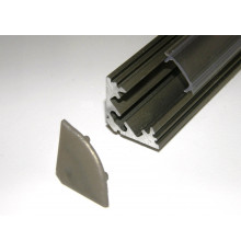 P3 LED profile 2.5m / 2500m corner 45 extrusion, anodized aluminium, inox, with diffuser