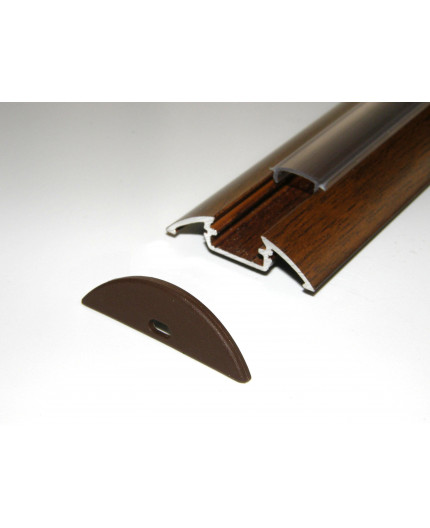 P4 LED profile 2.5m / 2500mm surface aluminium extrusion, wood wenge effect, with diffuser