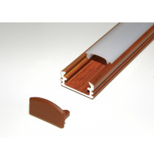 P2 LED profile 2.5m / 2500mm surface aluminium extrusion, wood palisander effect, with diffuser