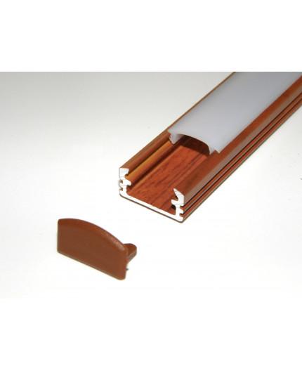 P2 wood palisander LED aluminium profile / extrusion with diffuser