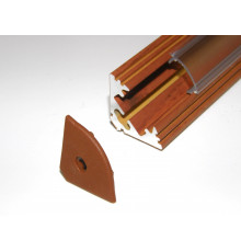 P3 LED profile 2.5m / 2500mm corner 45 aluminium extrusion, wood palisander effect, plus diffuser