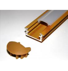 P1 LED profile, 2.5m / 2500mm recessed aluminium extrusion, wood pine effect, plus diffuser