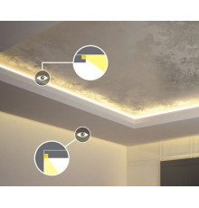 1m LED aluminium profile C1  for plasterboard, set with milky diffuser