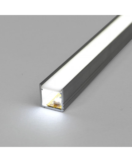 1m / 1000mm T2 LED profile (anodized, silver), 12mm x 12mm, set with cover