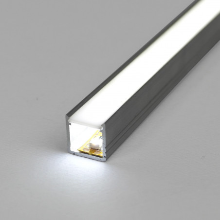 1m / 1000mm T2 LED profile (anodized, silver), 12mm x 12mm, set with milky cover,