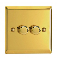 JVP252, Varilight, V-pro Trailing Edge and LED Dimmer Switch, polished brass, max load 2x250W