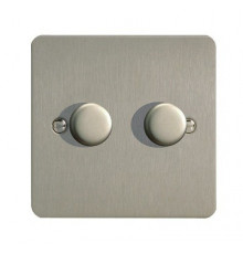 JFSP252, Varilight, V-pro Trailing Edge and LED Dimmer Switch, Ultraflat, Brushed Steel , max load 2x250W