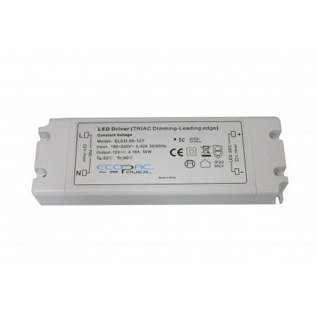 12Vdc 50W Triac dimmable (leading edge) LED driver, ELED-50-12T