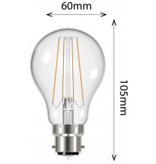 6.2W Filament GSL B22 806lm 2700K Clear LED Lamp, Non-dimmable