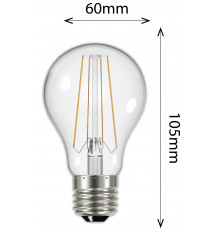 6.2w Filament GSL E27 806lm 2700K Clear LED Lamp, Non-dimmable