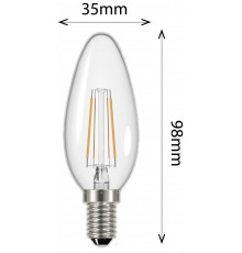 4W Filament Candle E14 450lm 2700K Clear LED Lamp, Non-dimmable