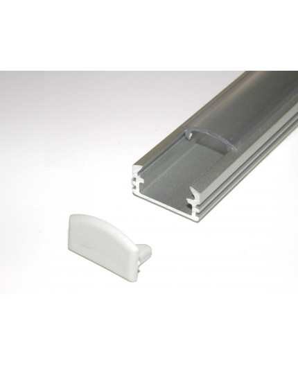 P2 LED profile 3m / 3000mm surface extrusion, anodized aluminium, silver, plus diffuser