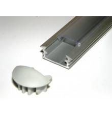 P1 LED profile, 3m / 3000mm recessed extrusion, anodized aluminium, silver, plus diffuser