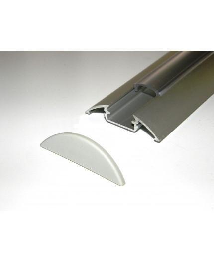 P4 LED profile 3m / 3000mm surface extrusion, anodized aluminium, silver, plus diffuser