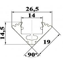 P3 LED profile 1.5m / 1500m corner 45 extrusion, anodized aluminium, silver, plus diffuser