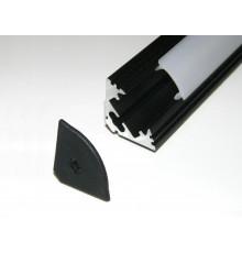 P3 LED profile 3m / 3000m corner 45 extrusion, anodized aluminium, black, with diffuser