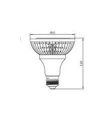 15W PAR30 E27 200-240V LED Spot Lamp Dimmable Warm White 20Degree