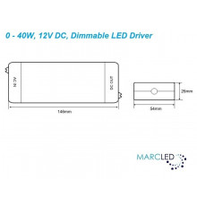 0 - 40W 12Vdc Constant Voltage Dimmable LED Driver TE40W-DIMM-LED-IP64