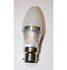 3W B22 LED Lamp, Milky Candle Bulb, Warm White, Dimmable, 20W-25W Equivalent