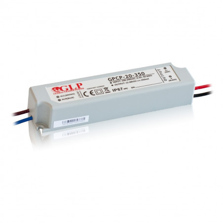 16.8W 350mA Single Output Switching LED Power Supply, GPCP-20-350, Built-in active PFC function, 5 years warranty
