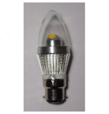 3W B22 LED Lamp, Clear Candle Bulb, Warm White, Dimmable, 20W-25W Equivalent