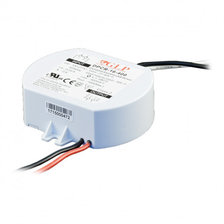 16W 400mA Single Output Switching LED Power Supply, DPCR-16-400, Built-in active PFC function, 5 years warranty