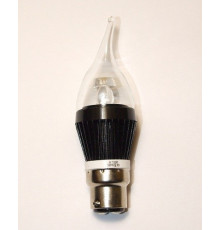 3W B22 LED Lamp, Clear Flame Bulb, Warm White, Dimmable, 20W-25W Equivalent