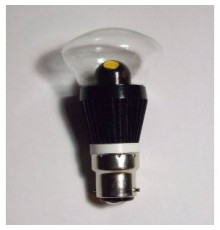 3W B22 LED Lamp, Clear Mushroom Bulb, Warm White, Dimmable, 20W-25W Equivalent