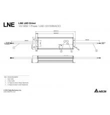 LNE-12V100WACA Delta LED Driver 96W 12Vdc, 5 years warranty