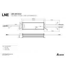 LNE-12V100WDCA Delta LED Driver 96W 12Vdc, Dimming (1~10VDC / PWM / Resistance), PFC, 7 years warranty