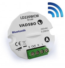 1-200W Universal Dimmer LD220, Trailing Edge, Push dimming, Bluetooth, Vadsbo