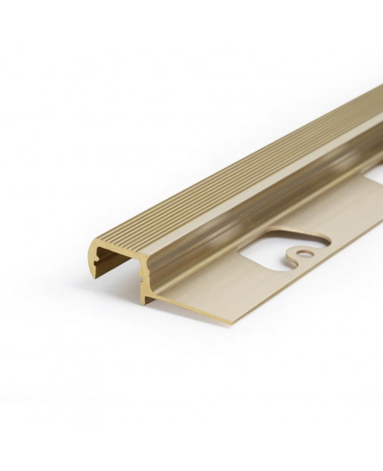 Brass LED profile S2 STEP, milky cover, 1600mm/1.6m, indoor and outdoor
