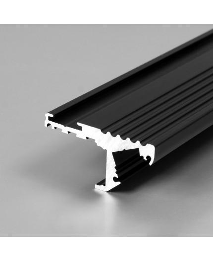Aluminium LED profile S1 STEP edge, black anodized, 2000mm / 2m