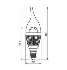 3W E14 LED Lamp, Clear Flame Bulb, Warm White, Dimmable, 20W-25W Equivalent