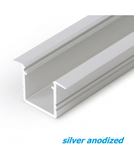 2m recessed T1 LED profile (anodized, silver), set with cover