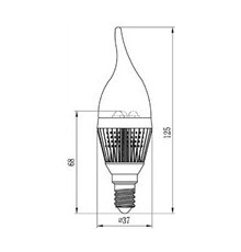 3W E14 LED Lamp, Milky Flame Bulb, Warm White, Dimmable, 20W-25W Equivalent