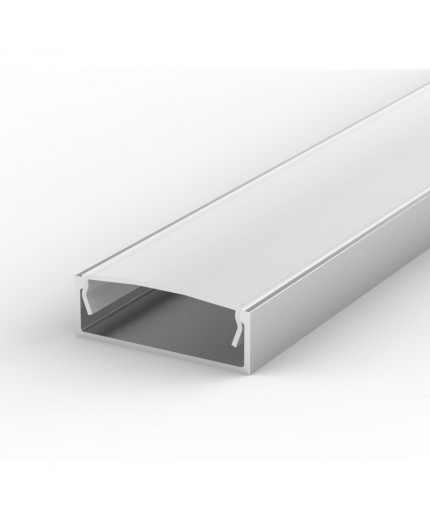 EW2 silver 1m / 1000mm LED ALU high U-profile 30mm x 10mm with high quality diffuser