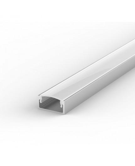 E2 silver 1m / 1000mm LED Aluminium U-profile 15mm x 7mm with high quality diffuser