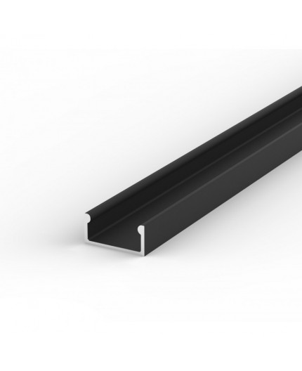 E2 black 2m / 2000mm LED ALU U-profile 15mm x  7mm with high quality diffuser