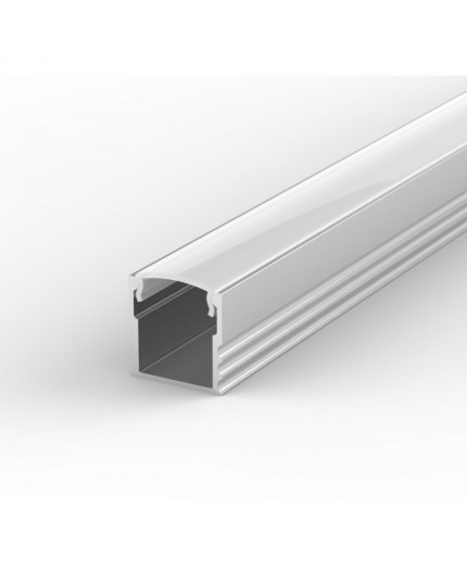 EH2 silver 2m / 2000mm LED ALU high U-profile 15mm x 15mm with high quality diffuser