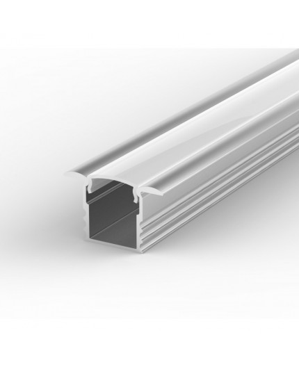 EH1 silver 2m / 2000mm recessed LED aluminium extrusion 15mm x 14mm with high quality diffuser