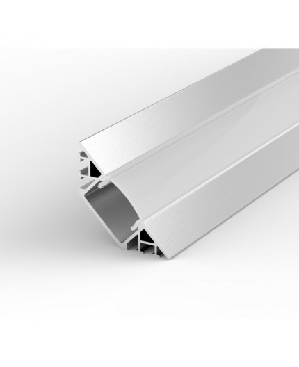 EW3 silver 2m / 2000mm Flush 45° Surfaced Corner LED aluminium extrusion with high quality diffuser